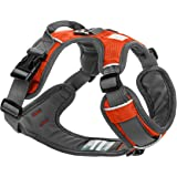 Embark Active Dog Harness, Easy On and Off with Front and Back Lead Attachments & Control Handle - No Pull Training, Size Adjustable and No Choke (XL (96-112 cm, Orange)
