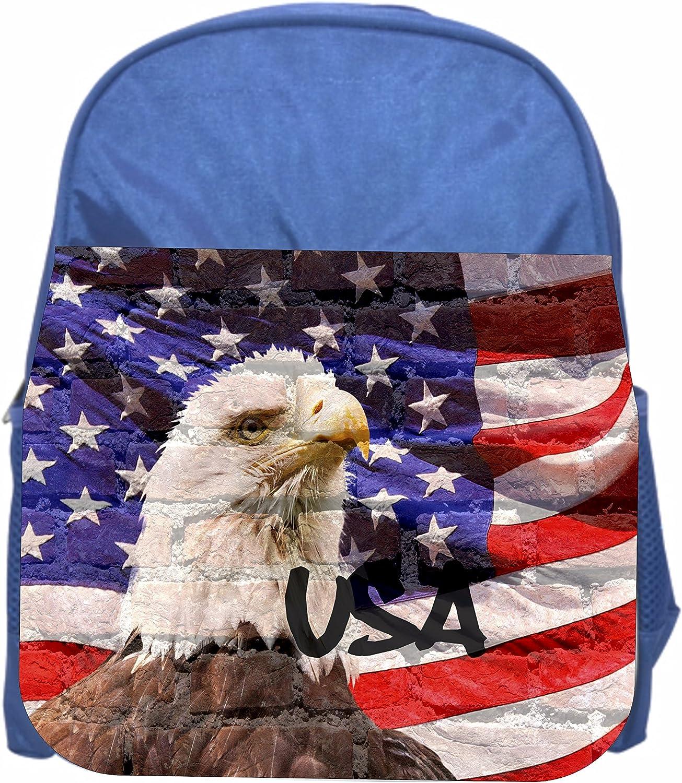 Boys//Girls Blue Preschool Toddler Kids Backpack /& Lunch Box Set USA Flag