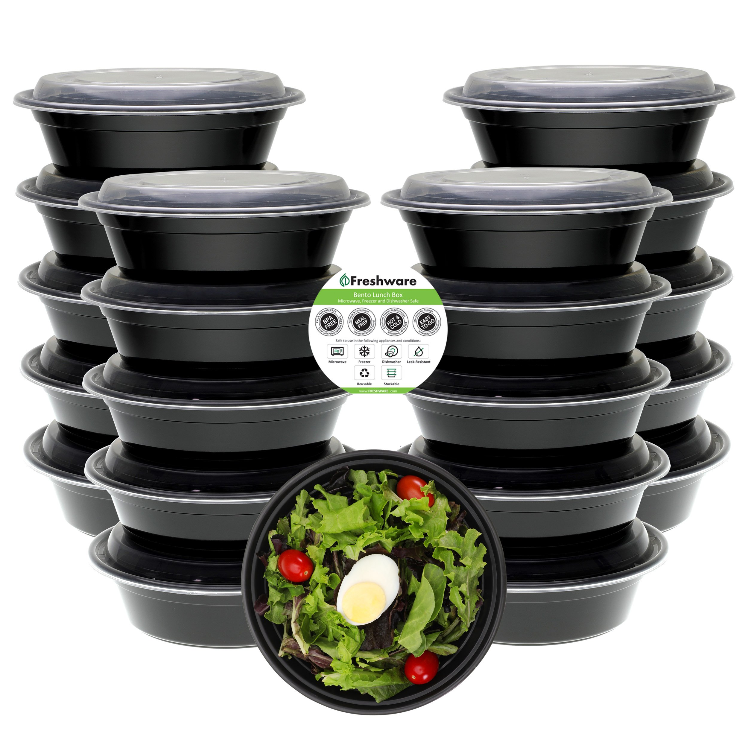 Freshware Meal Prep Containers [21 Pack] Bowls with Lids, Food Storage Bento Box | BPA Free | Stackable | Lunch Boxes, Microwave/Dishwasher/Freezer Safe, Portion Control, 21 Day Fix (28 oz)