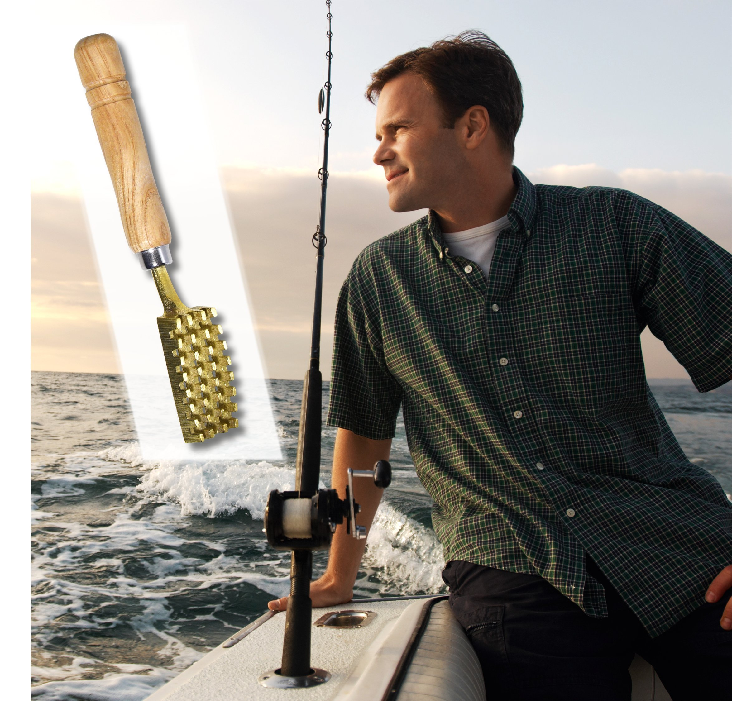 Kwizing Made in Japan Fish Scaler Brush with Brass Serrated Sawtooth and Ergonomic Wooden Handle - Easily Remove Fish Scales Without Fuss Or Mess - Handcrafted by Japanese Artisans by Kwizing (Image #4)