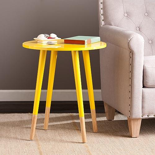 SEI Laney Round Table, Glossy Yellow