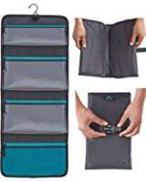 Sea-Breeze Hanging Toiletry Bag: Organize Your Toiletries / Cosmetics Into 4 Pockets (3 Waterproof and 1 Mesh). Save Time and Space. Pack it, Fold it, Click the Buckle and Enjoy Your Travel!