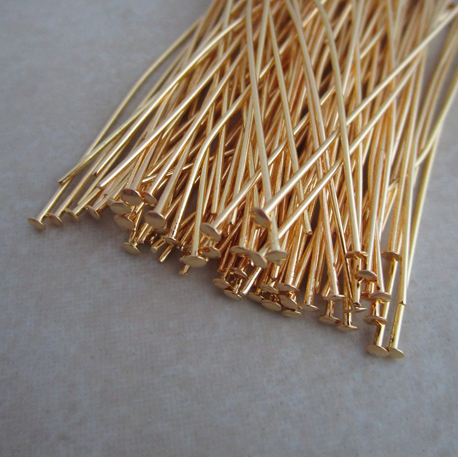 Gold Plated headpins 2 inch 21 Gauge 200