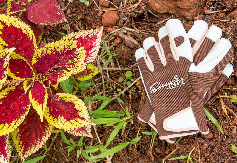 Adjustable Fastener and Breathable Spandex Back Medium Leather Gardening Gloves for Women and Men Ideal for General Garden Tasks
