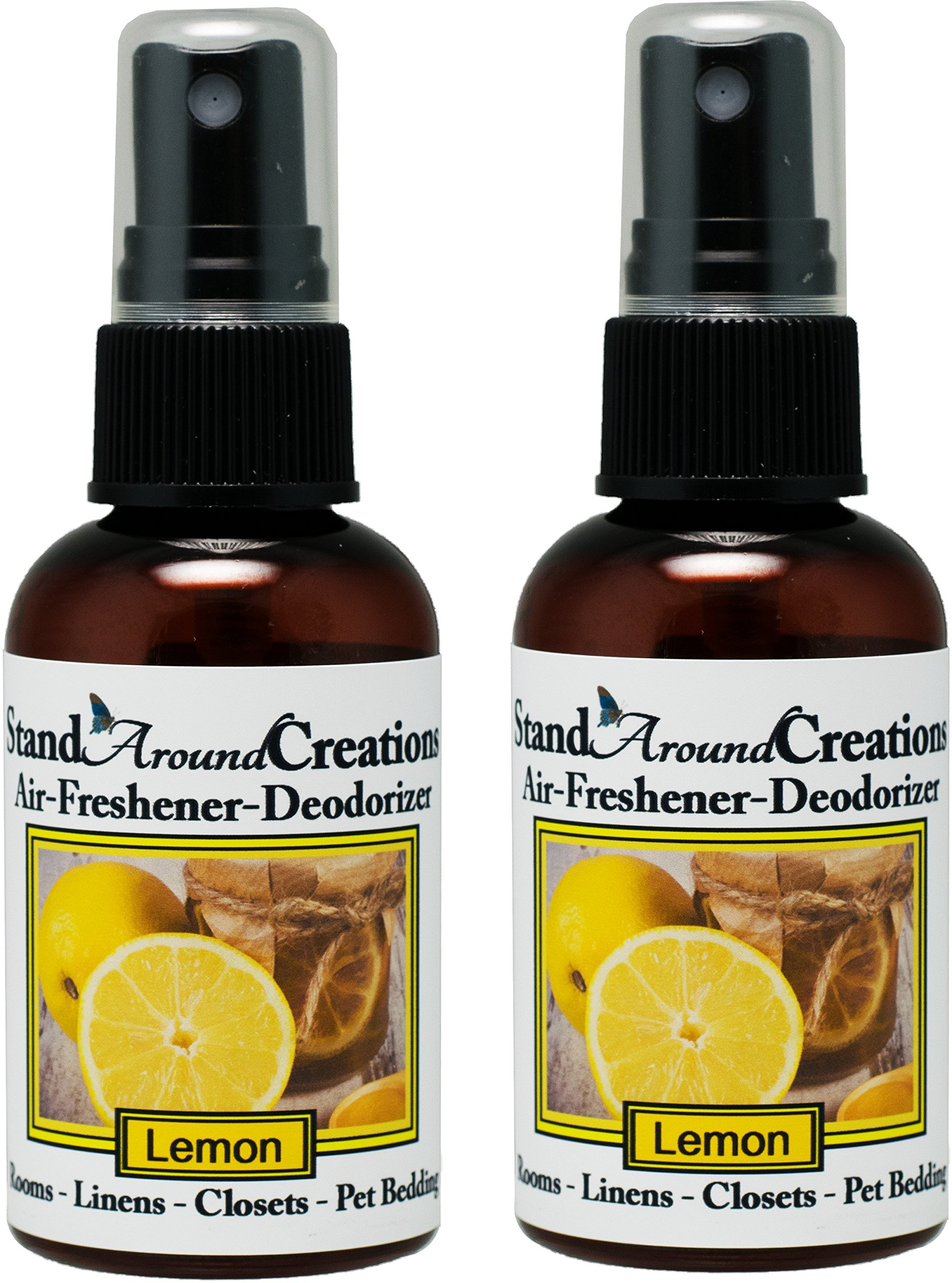 Set of 2 - Concentrated Spray For Room / Linen / Room Deodorizer / Air Freshener - 2 fl oz - Scent - Lemon: A Vibrant citrus scent. Infused w/ natural essential oils.
