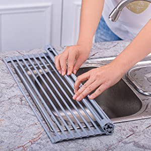 Vimeka Dish Drying Rack Over-the-Sink Stainless Steel Portable Dish Rack Dish Drainer over Sink Dish Drying Rack Foldable Stainless Steel Dish Drying Rack(16.5''x13.8'')