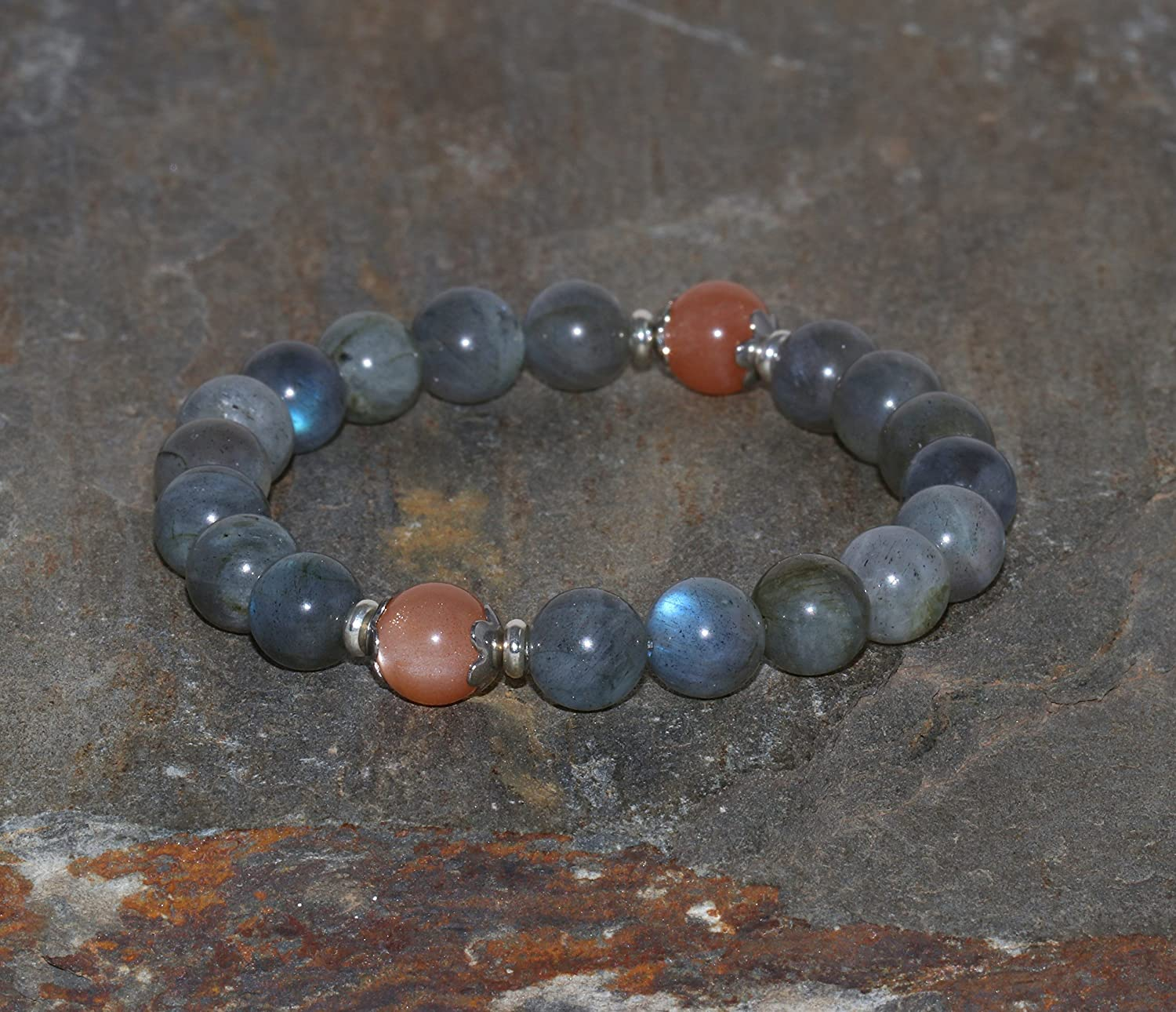 necklace natural stones Obsidian Lava Labradorite or Moonstone and stainless steel silver jewel semi precious stones