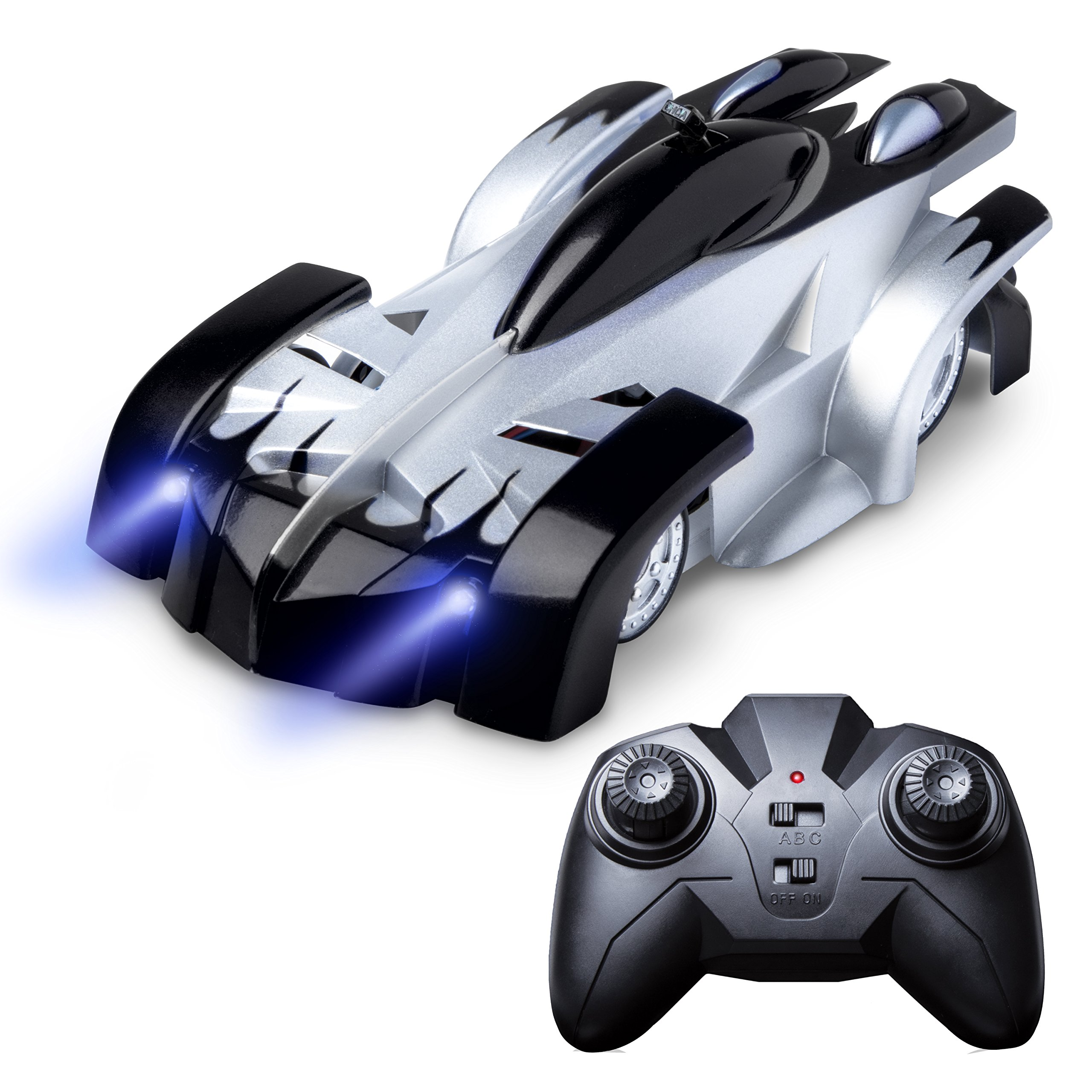 Force1 Wall Climbing RC Car – 4 Assorted Colors Fast Remote Control Car for Boys and Girls with RC Cars for Kids Remote + USB RC Car Charger (Black)
