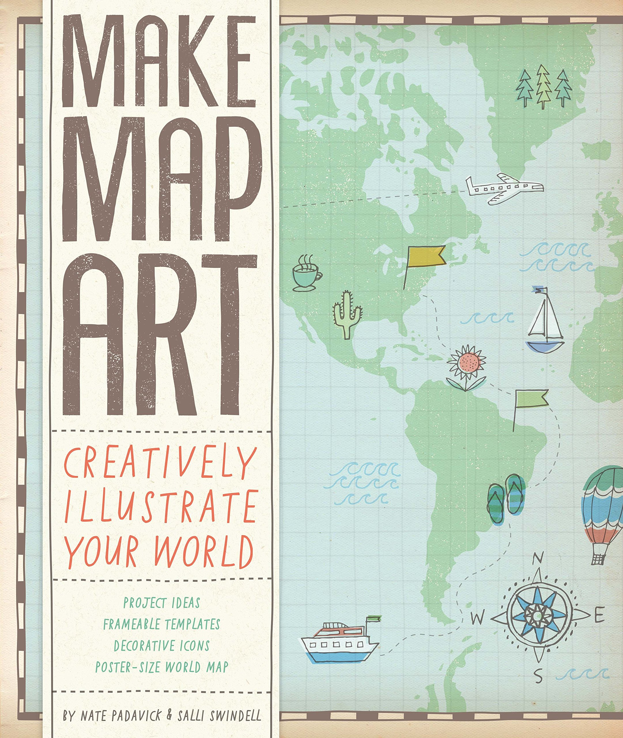 Frameable World Map.Make Map Art Creatively Illustrate Your World Salli Sue Swindell