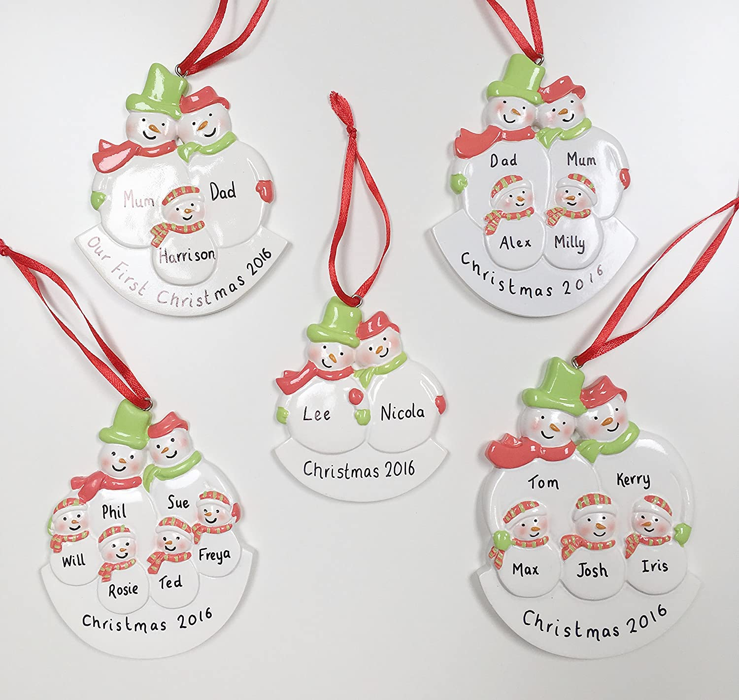 Personalised Snowmen Christmas Decoration For Family of Four