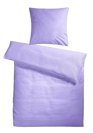 Leichte Seersucker Bettwäsche 155 X 220 Cm Flieder Lila Atmungsaktiver Kopfkissen Und Bettdecken Bezug Aus Reiner Baumwolle Mit Reißverschluss