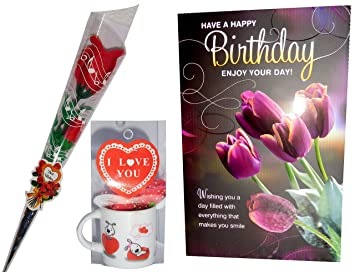 Buy Birthday Gifts Combo Birthday Card Artifical Red Rose