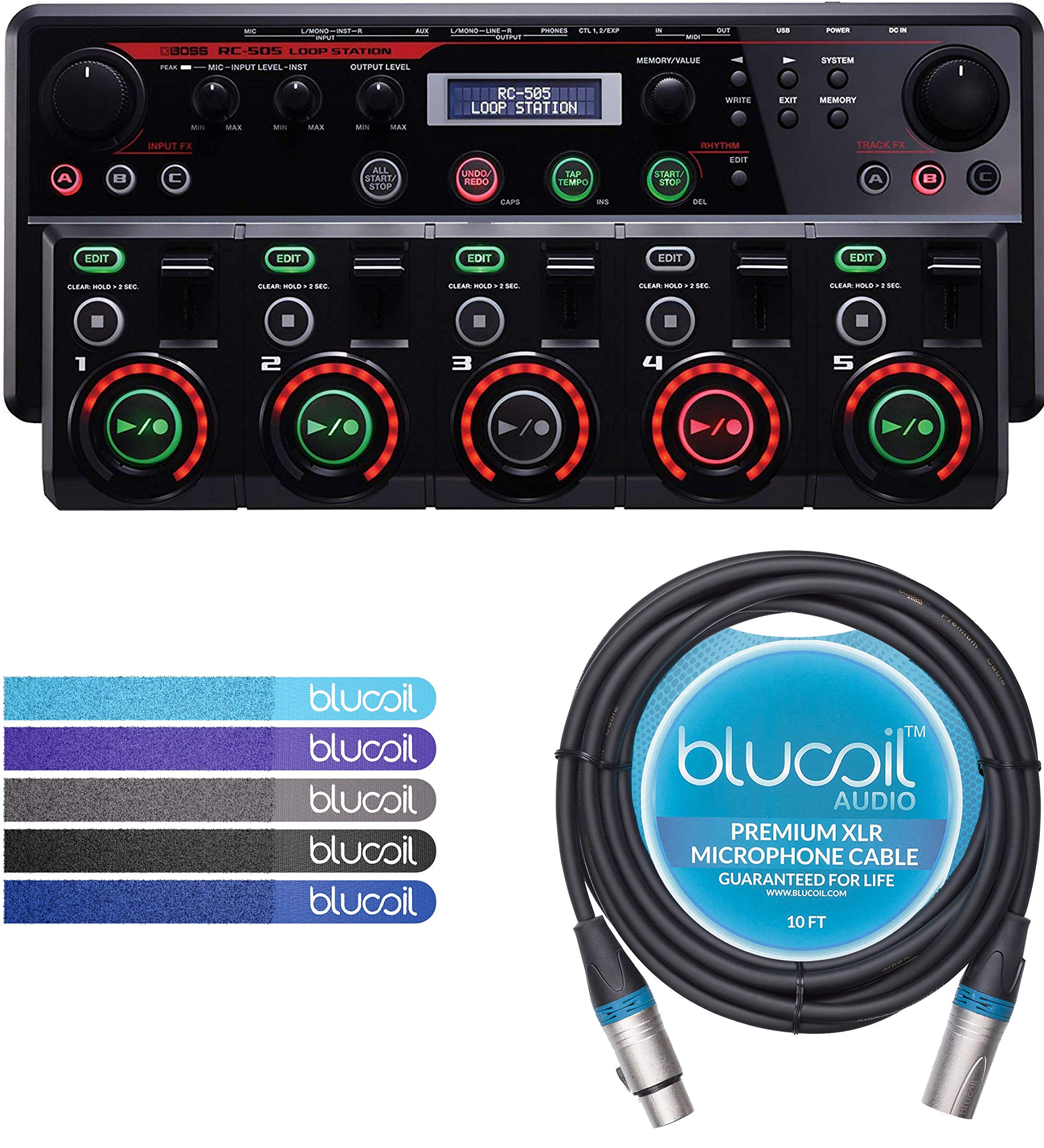 BOSS RC-505 Loop Station Bundle with Blucoil 10-FT XLR Microphone Cable and 5-Pack of Reusable Cable Ties