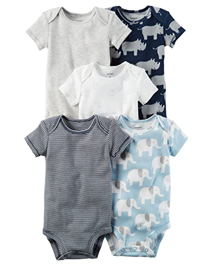 51ee25c9d Image Unavailable. Image not available for. Color: Carter's Baby Boys' 5  Pack Bodysuits Rhino/Elephant 3 Months