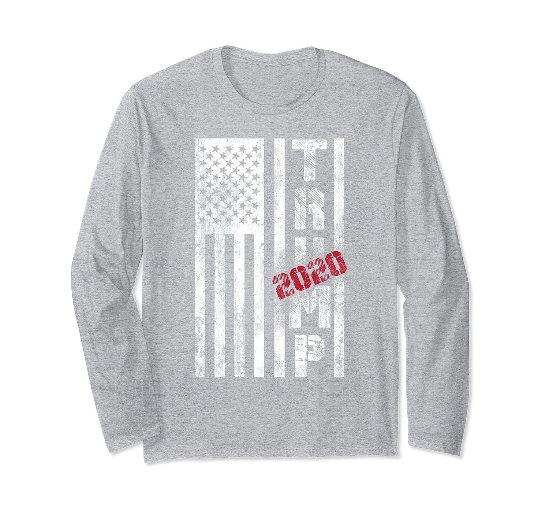 American Flag Vintage Trump 2020 Design USA Long Sleeve-Samdetee