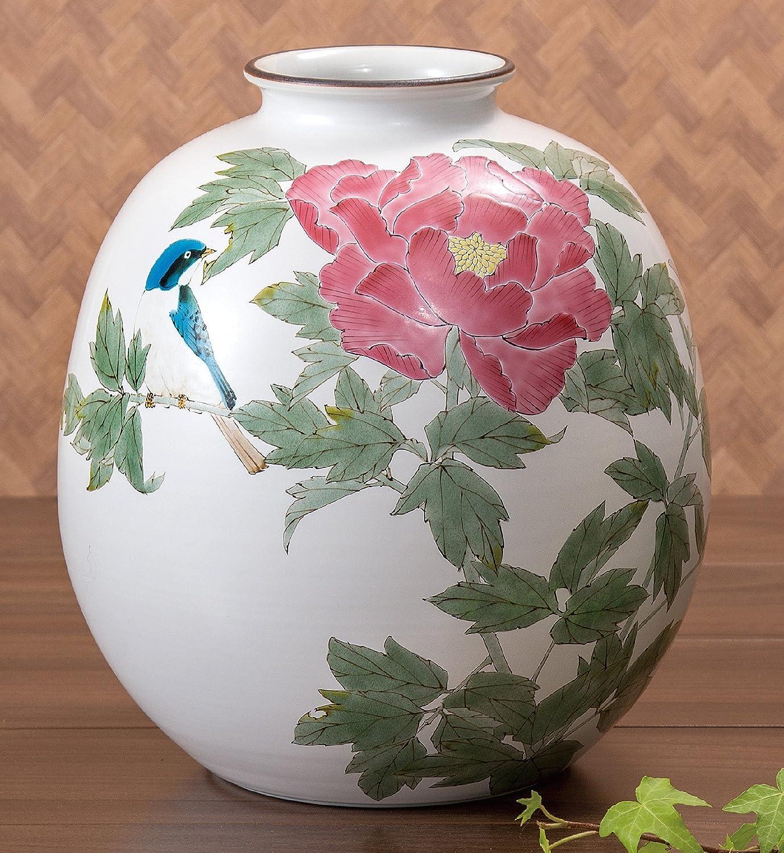 九谷焼 9号花瓶 牡丹にルリ B072126BYB