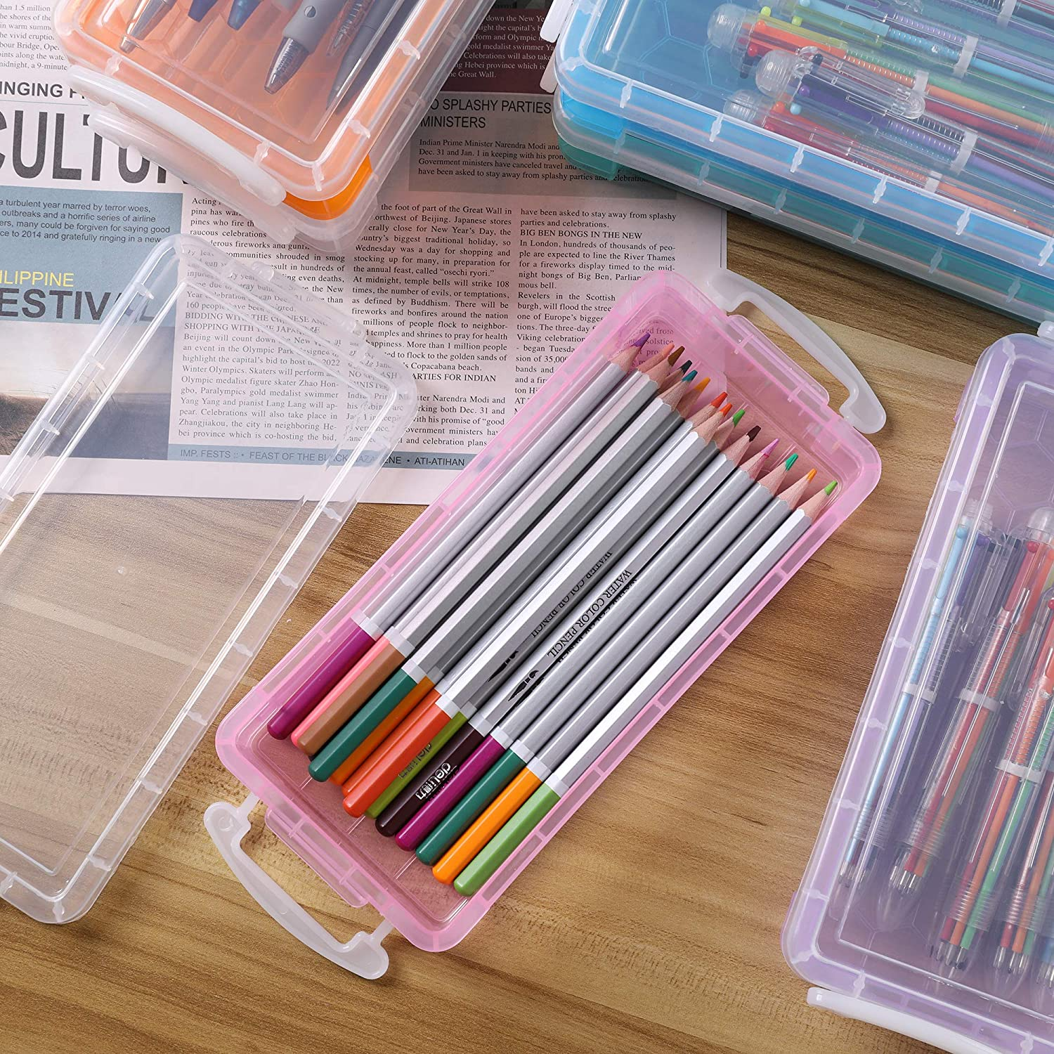 Blue+Pink+Green 6 Pack Storage Box Container Desktop Organizer Pencils Markers Crayons Pens Drawing Tools Boxes for Office School Home Stackable Large Pencil Case