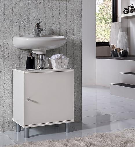 VCM Bad Unterschrank Waschtisch Waschbecken Badschrank Regal Wento 55x45x32  Badezimmer Schrank Weiß