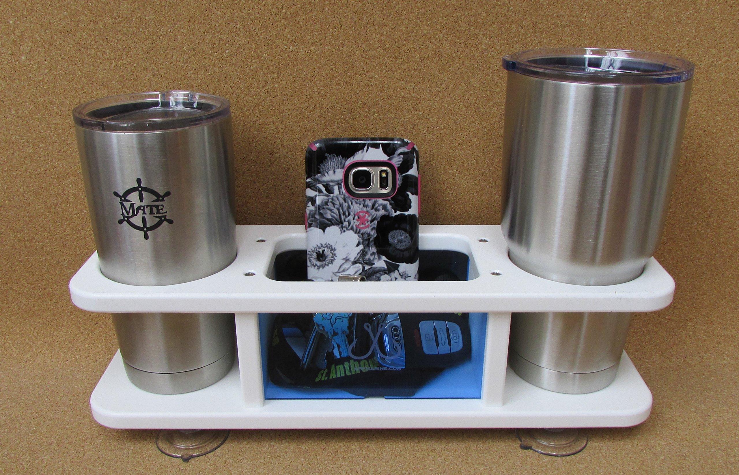 Two Beverage Cup Holder w Storage Box Catch All APF Marine