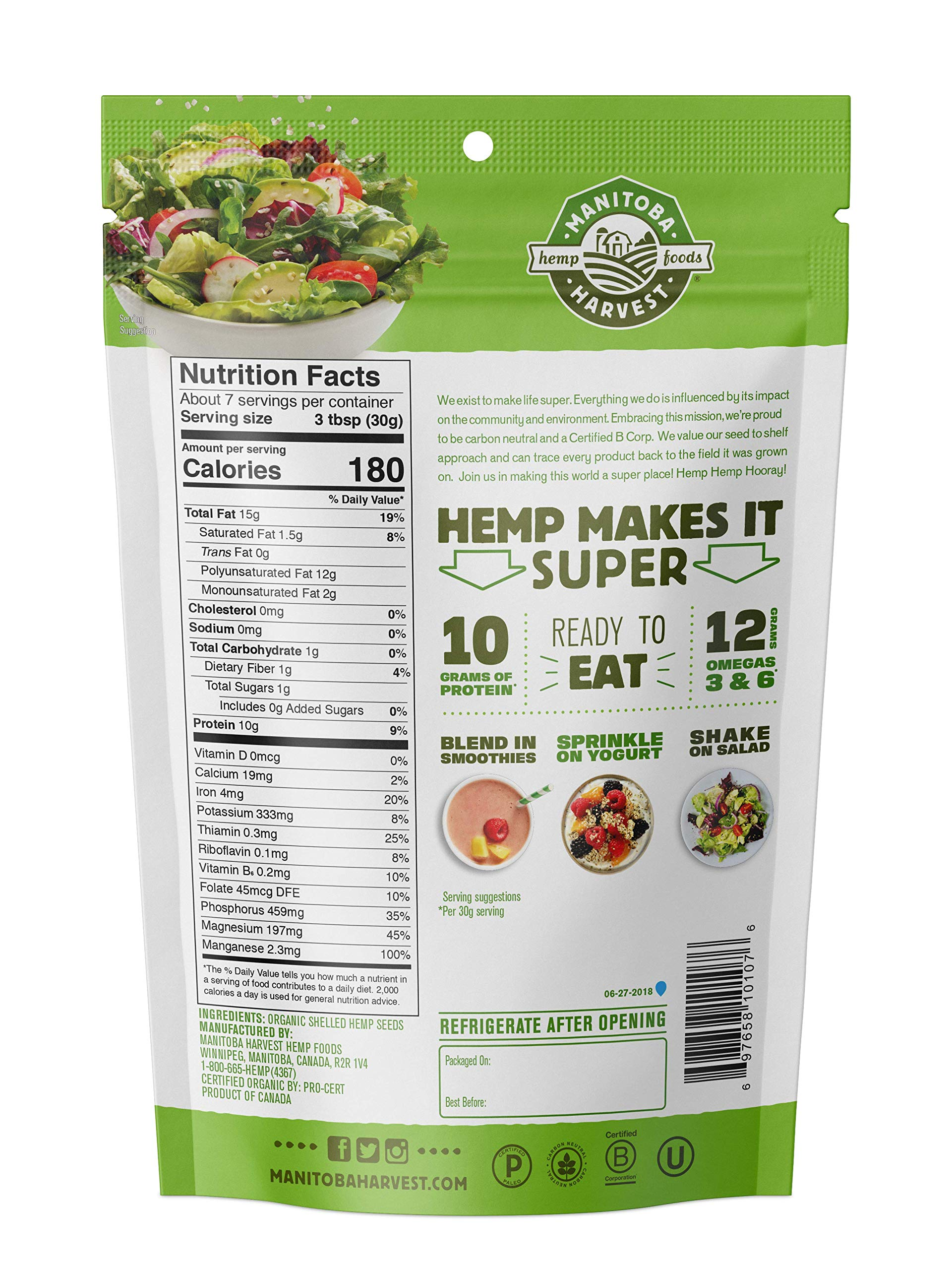 Manitoba Harvest Organic Hemp Hearts Raw Shelled Hemp Seeds, 7oz; with 10g Protein & 12g Omegas per Serving, Non-GMO, Gluten Free by Manitoba Harvest (Image #2)