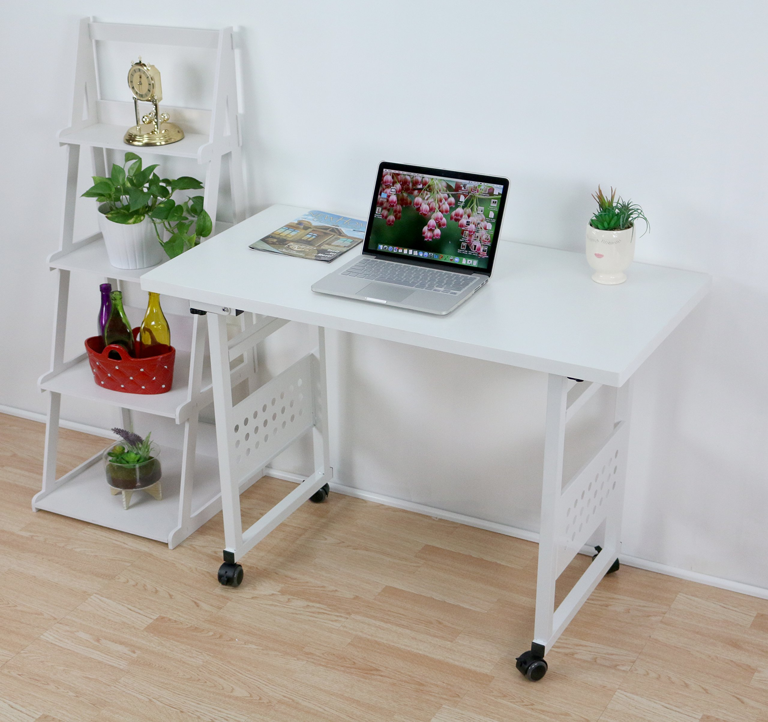 UNICOO - Folding Computer Desk, Folding Table, Folding Office Desk Workstation No Assembly Required With Wheels For Home Office Use (U201-White)