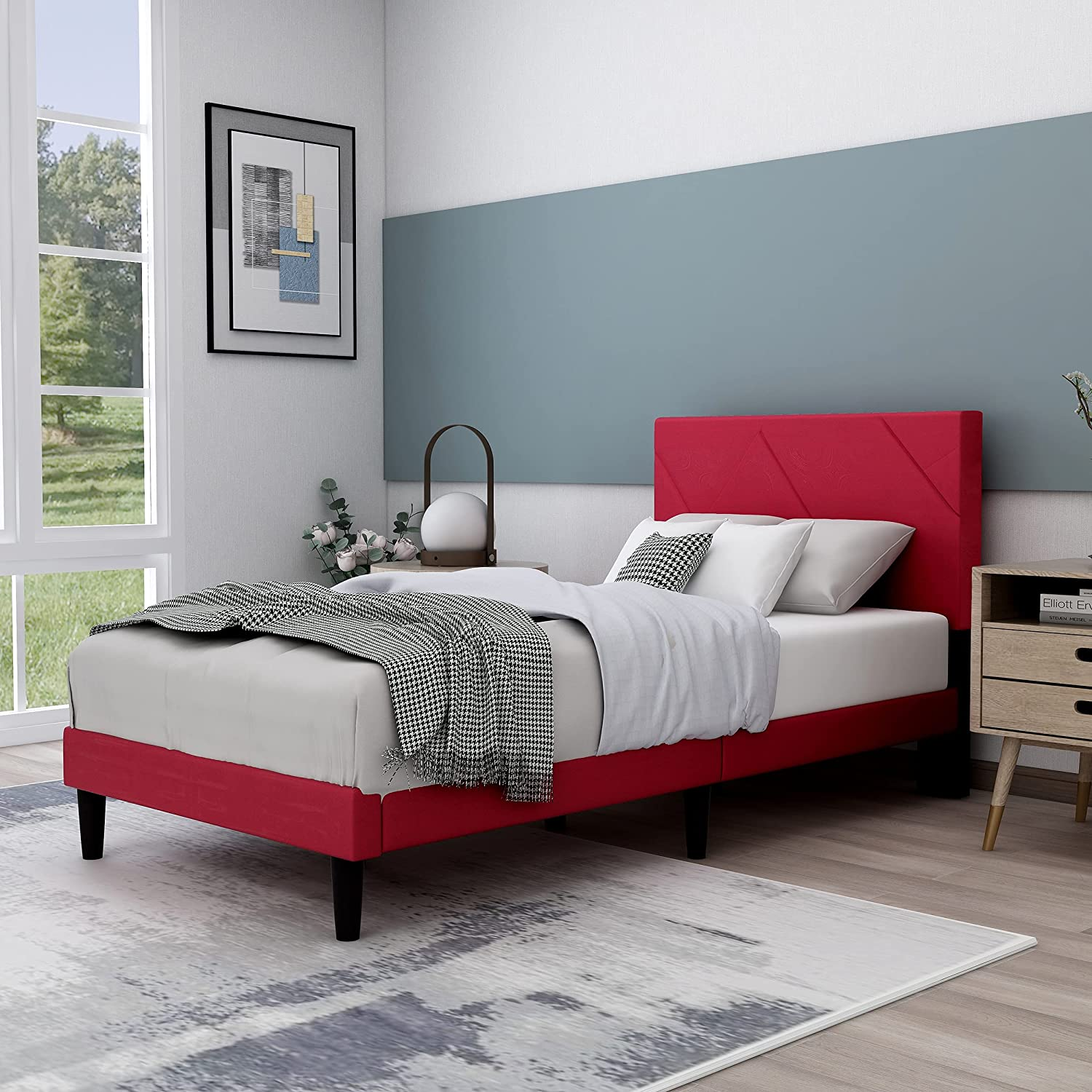 Upholstered Platform Bed Frame with Headboard, Mattress Foundation/Wood Slat Support/No Box Spring Needed/Easy Assembly,Red,Twin