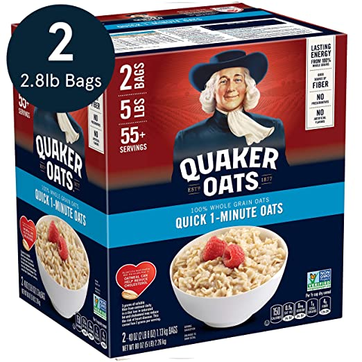 Quaker Quick 1-Minute Oatmeal, Non GMO Project Verified, Two 40oz Bags in Box, 55 Servings