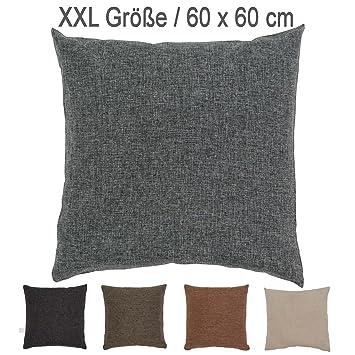 Xxl Melange Kissen Mit Rv Und Herausnehmbarer Füllung 60x60 Cm Deko Zierkissen Sofakissen Grau