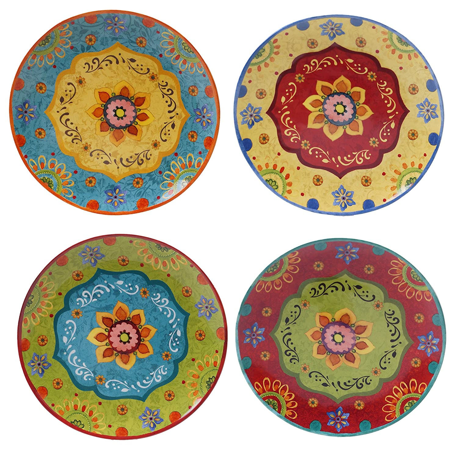 "Certified International 22450SET/4 Tunisian Sunset Dinner Plates, Set of 4, 10.5"", Multicolored"