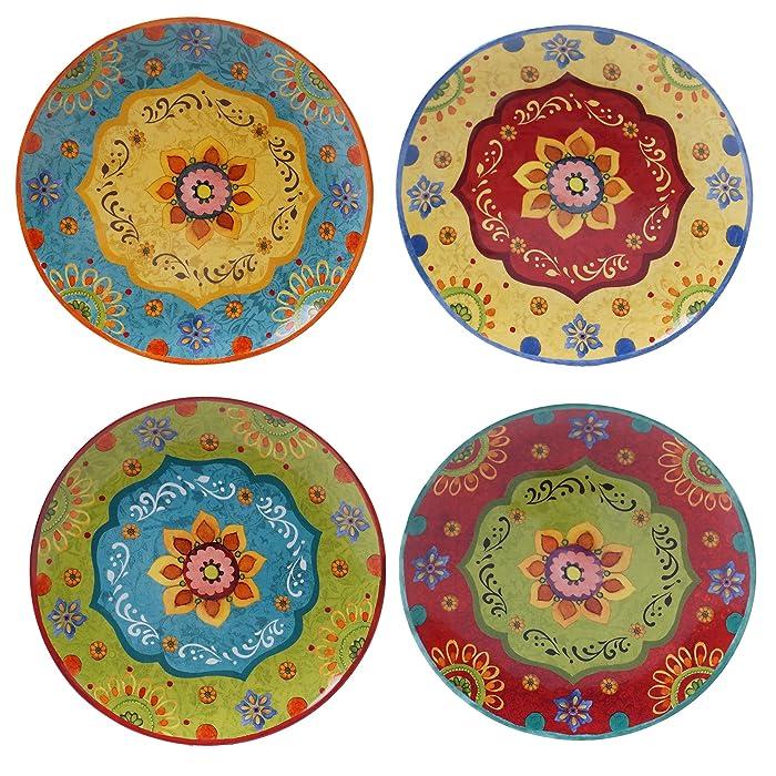 "Certified International 22450SET/4 Tunisian Sunset Dinner Plates, Set of 4, 10.5"", Multicolored"