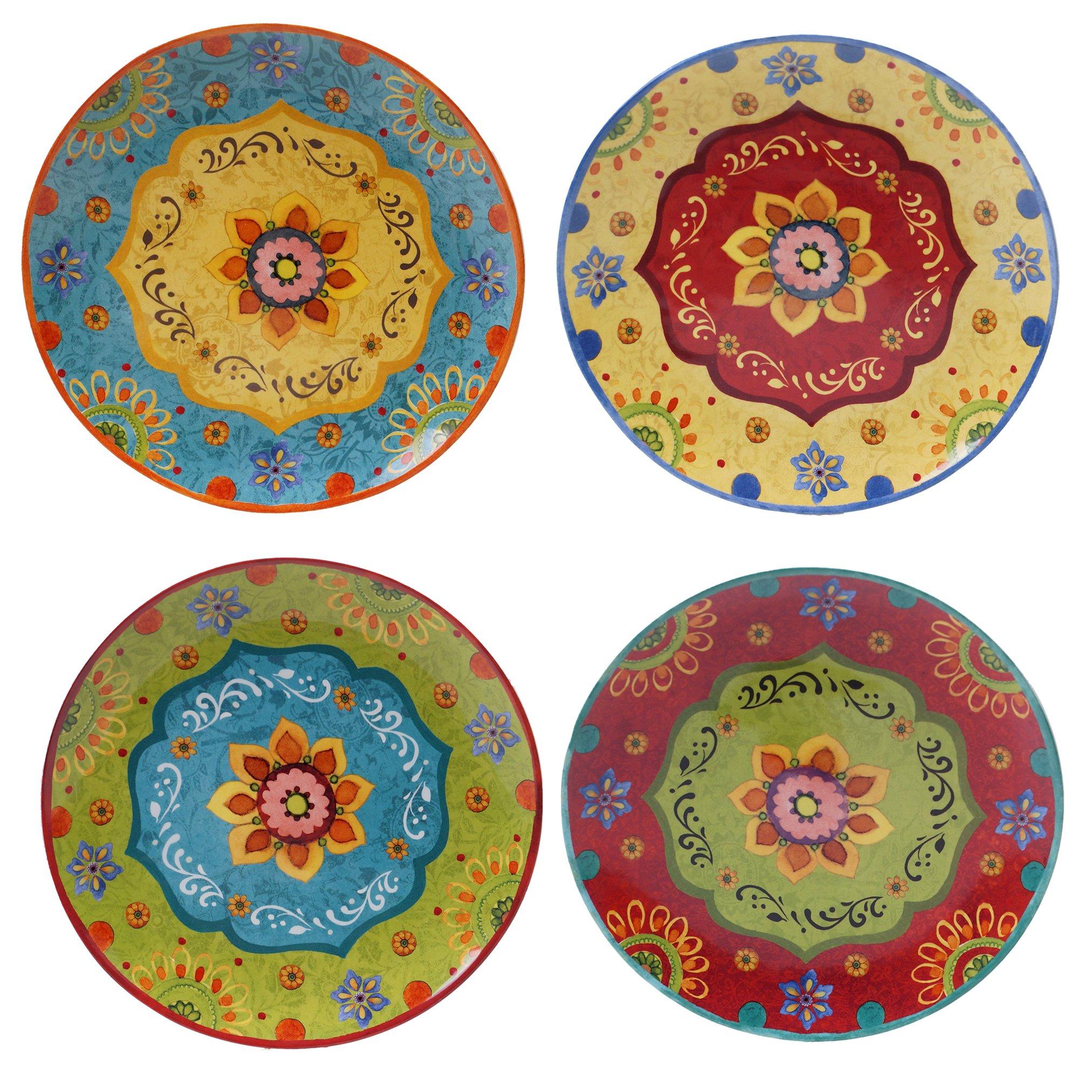 Certified International 22450SET/4 Tunisian Sunset Dinner Plates (Set of 4), 10.5'', Multicolor