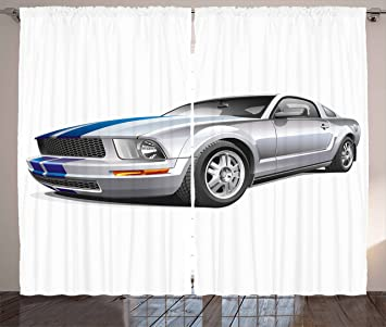 Teen Room Decor Curtains By Ambesonne, Modern Cool Car Automobile Fancy  Speed Fast Vehicle Illustration