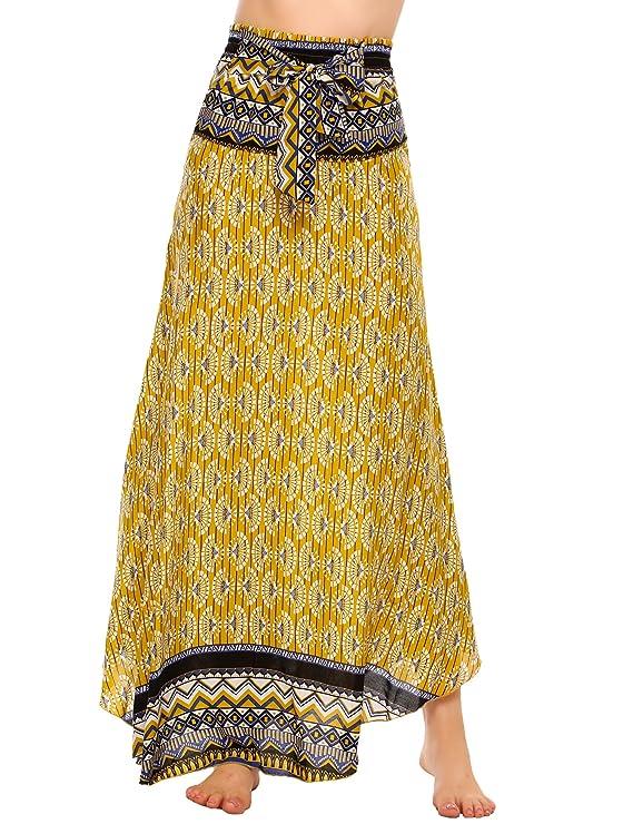 SE MIU Women's Long Bohemian Style Floral Print Boho Hippie Maxi Skirt
