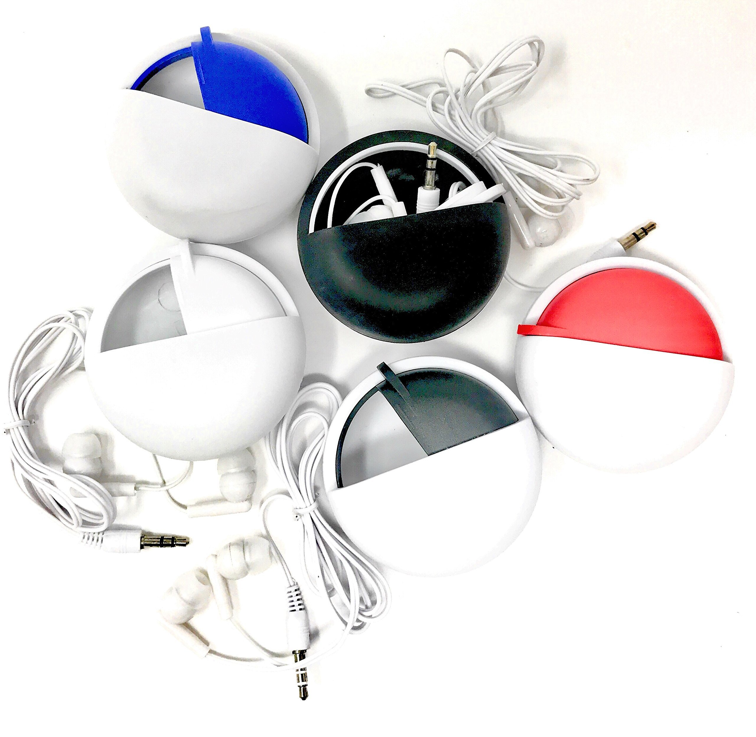 5 Earbud Sets with Assorted Color Travel Cases - Bulk Assortment Pack