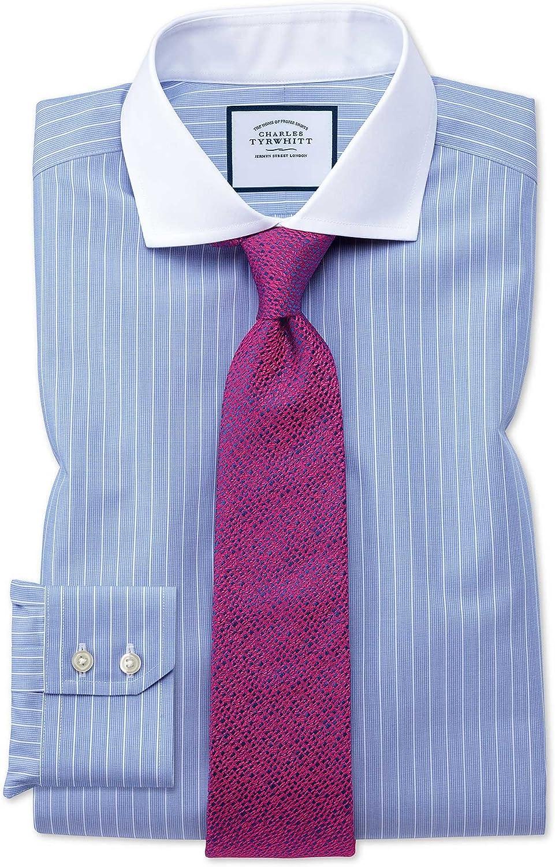 Camisa sin Plancha Winchester Blanca y Azul Slim fit con Cuello Italiano: Amazon.es: Ropa y accesorios