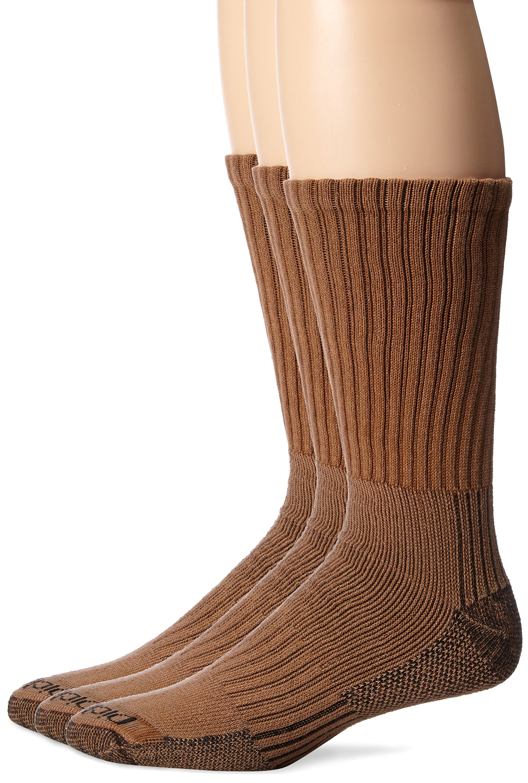 Dickies Men's 3 Pack Heavyweight Cushion with Ankle & Arch Compression Work Crew Socks, Brown, Sock Size:10-13/Shoe Size: 6-12