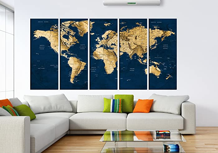 Amazon vintage world map wall art push pin old world map wall vintage world map wall art push pin old world map wall art canvas print multi gumiabroncs Image collections
