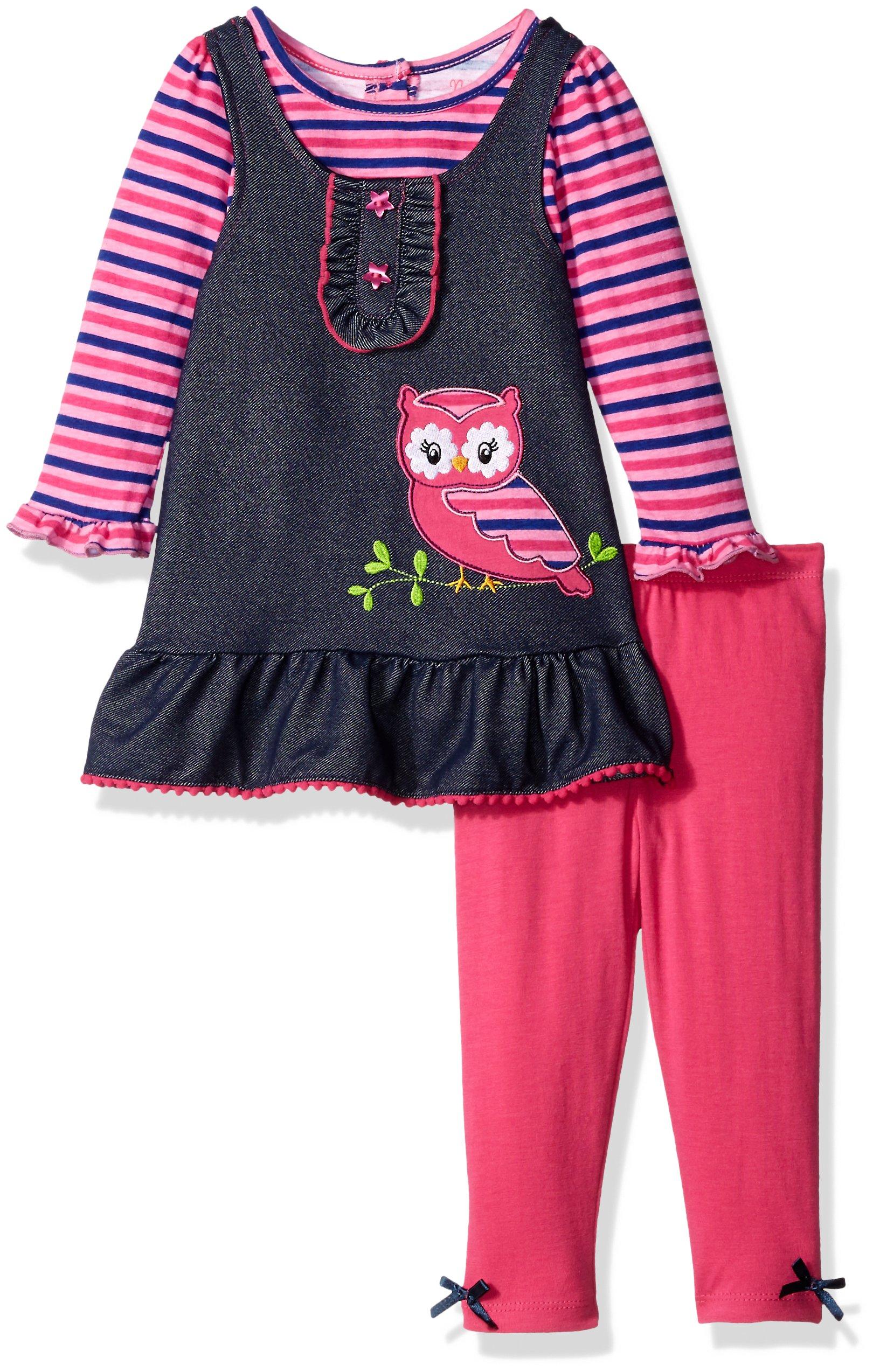 Nannette Baby Girls' 2 Piece Mock 2fer Top Playwear Set, Pink, 24 Months