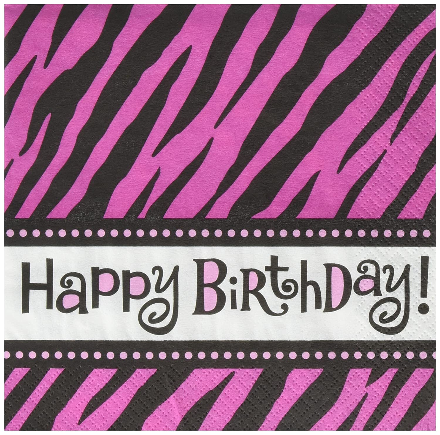 Another Year of Fabulous Collection Birthday 513674 TradeMart Inc 192 Ct Amscan Zebra Lunch Napkins