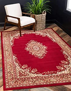 Unique Loom Reza Area Rug, 5 x 8 Feet, Burgundy/Ivory