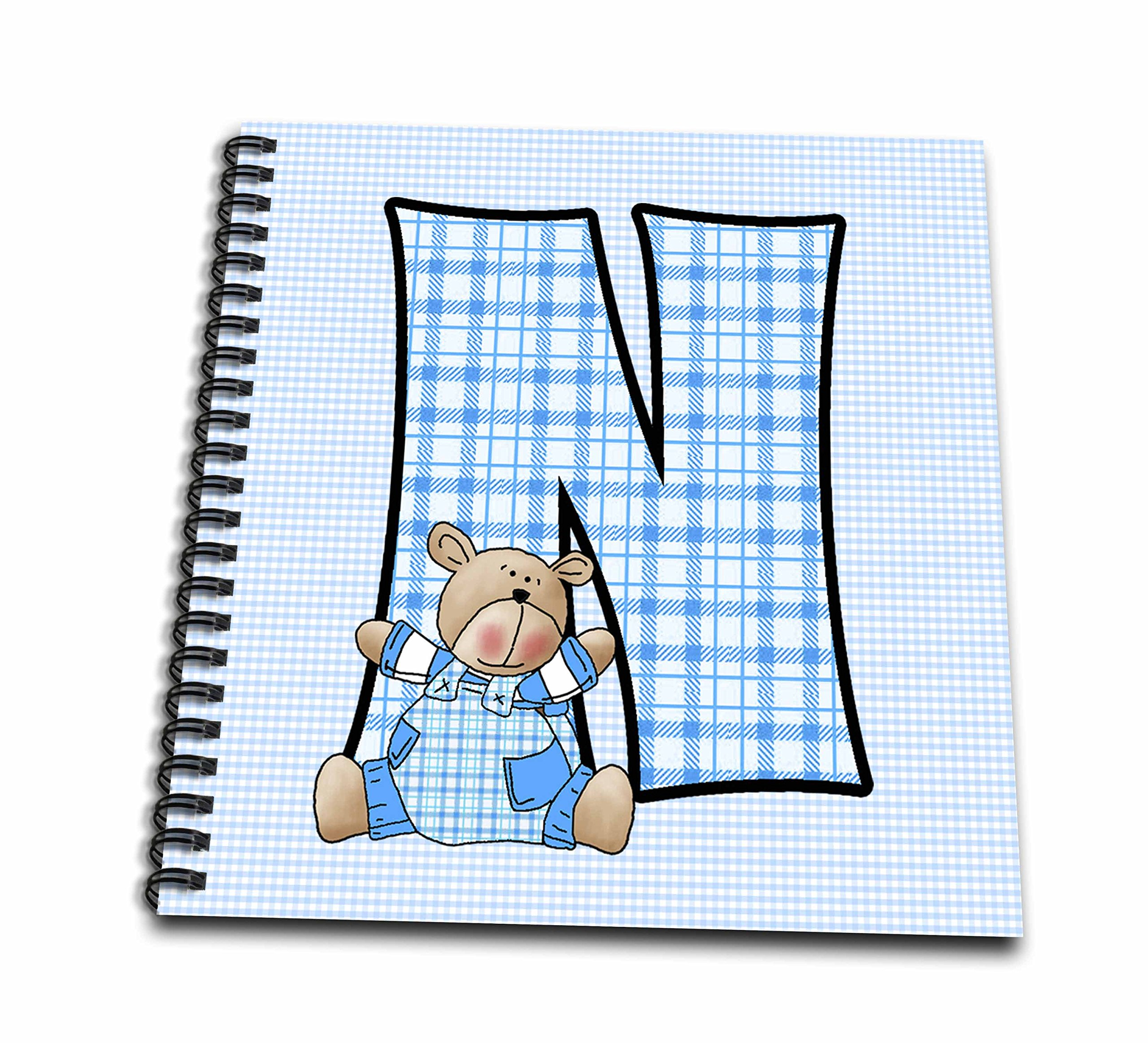 3dRose db_62867_1 Teddy Bear in Blue for Boys Baby and Kids Monogram N in Gingham Prints Drawing Book, 8 by 8-Inch by 3dRose