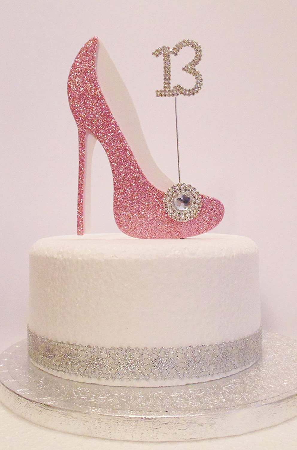 13th Birthday Cake Decoration Pink White Shoe with Crystal