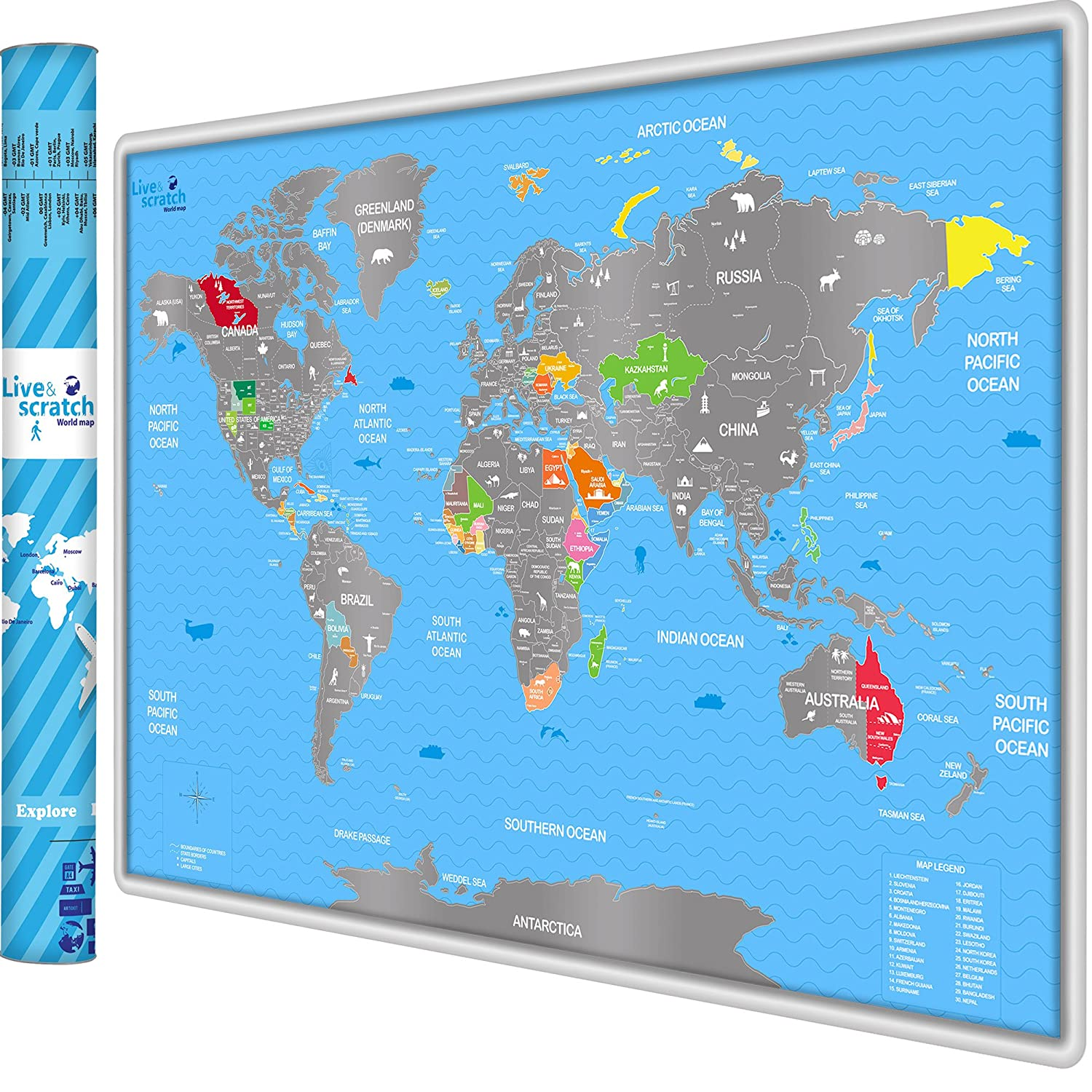 Live&Scratch Personalized Scratch off World Map Poster with ...