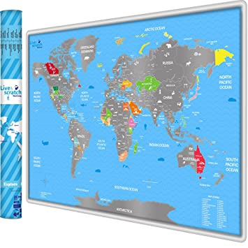 Amazon scratch off world map poster with outlined us canada scratch off world map poster with outlined us canada states vibrant colors underneath gumiabroncs Images