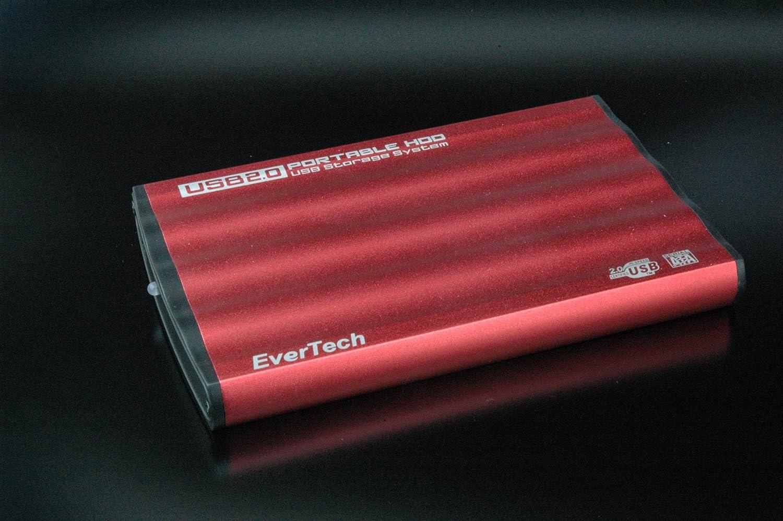 5,08 cm caja de disco duro SATA, USB 2,0, Alu. Rojo