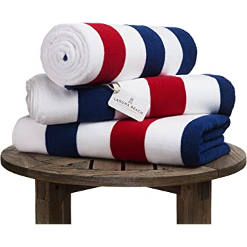 Oversize Plush Cabana Towel by Laguna Beach Textile Co | Red, White and Blue |