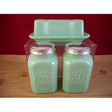 New JADE Jadeite 3 Piece Depression Style Milk Glass Butter Dish Salt Pepper Shaker Set