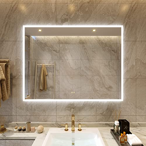 Petus PetusHouse 48 X 36 Inch LED Lighted Bathroom Mirrors, Acrylic Frame Wall Mounted White Light Dimmable Anti-Fog Memory Button Waterproof CRI 90 5MM Bedroom Mirror Vertical Horizontal