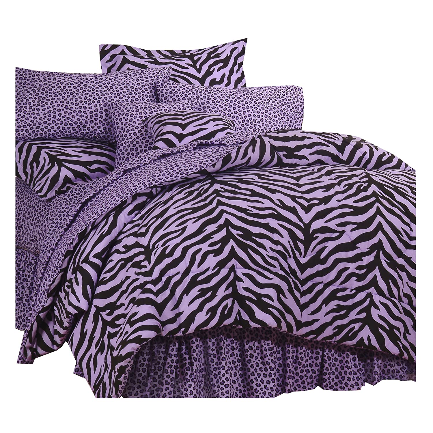 Amazon Purple Zebra Print Bed in a Bag Twin Home Kitchen