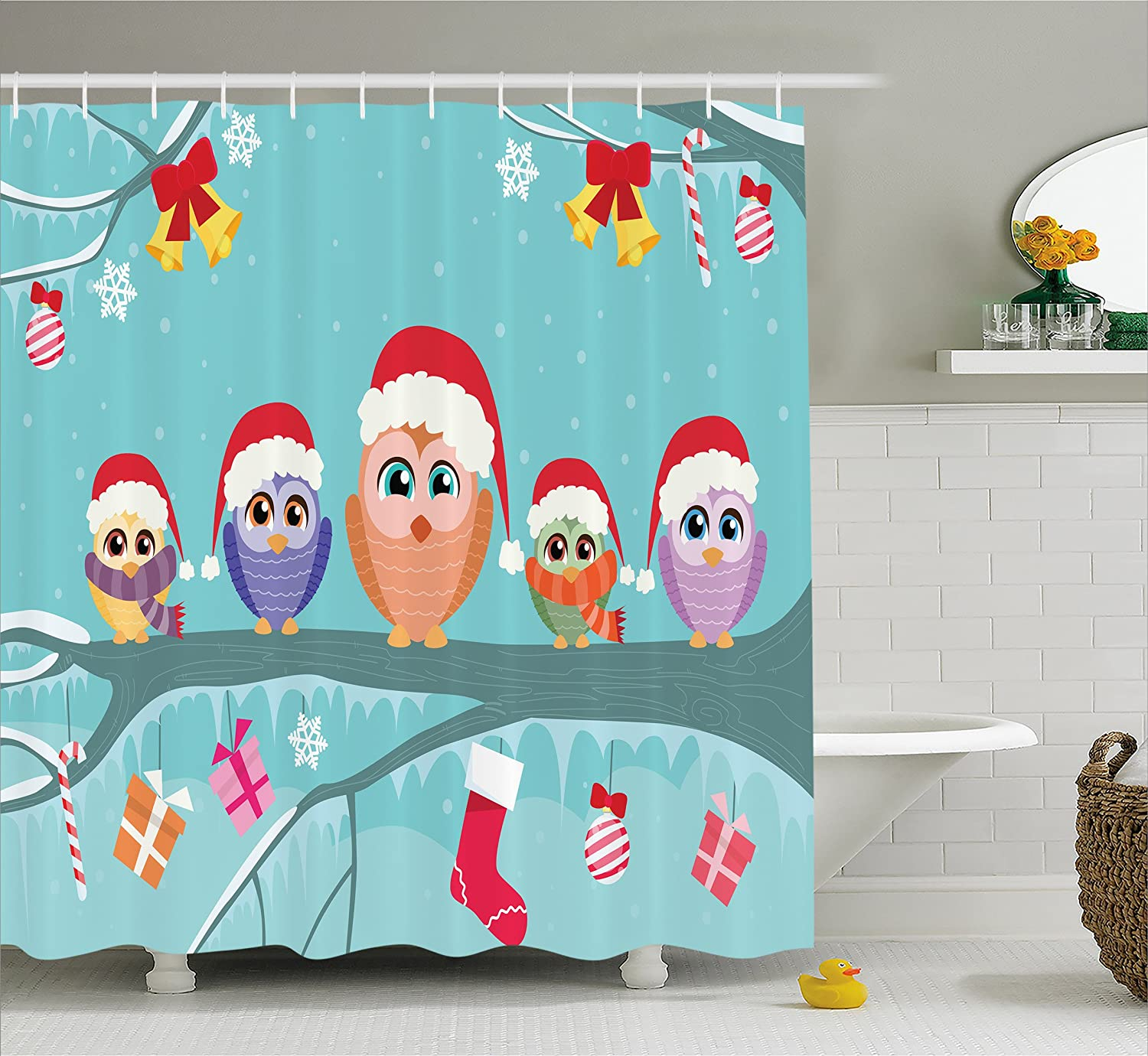 Amazon.com: Ambesonne Christmas Shower Curtain, Cute Owl Family ...